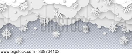 Falling Snow On Transparent Background In Paper Cut Style. Snowstorm Clouds Overlay Effect For Chris