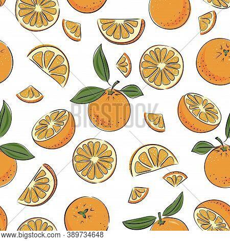 Seamless Pattern Orange. Slice Citrus Fruit. Vector Illustrstion For Kitchen Textile