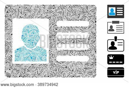 Hatch Mosaic Based On Account Card Icon. Mosaic Vector Account Card Is Composed With Scattered Hatch