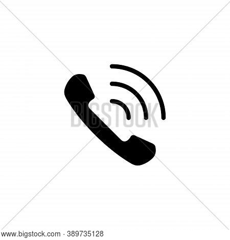 Telephone Receiver Vector Icon, Handset Phone Call Symbol Isolated On White.