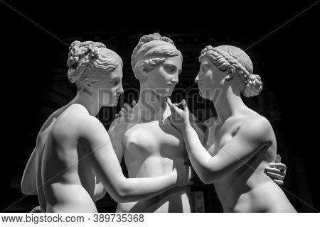 Milan, Italy - June 2020: Bertel Thorvaldsen's Statue The Three Graces. Neoclassical Sculpture, In M