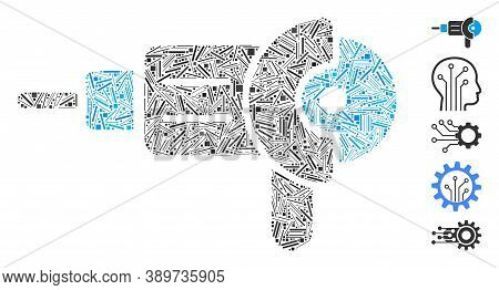 Dash Mosaic Based On Angle Grinder Icon. Mosaic Vector Angle Grinder Is Formed With Scattered Line E