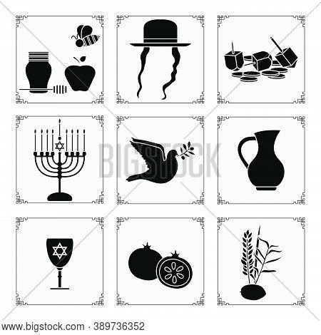 Vector Illustration Jewish Holiday Traditional Symbols Honey, Apple, Bee, Paces, Hat, Dreidel, Coins