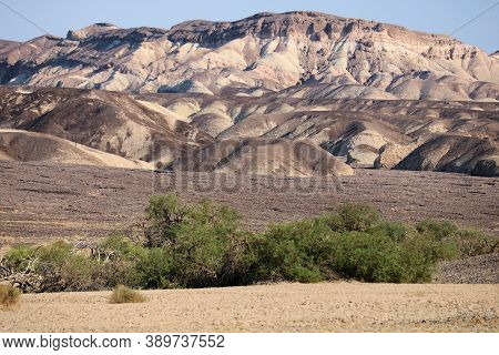 Arid Plateau With An Oasis Including Barren Mountains Covered With Colorful Rocks Representing Miner