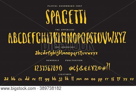 Handwritten Font Playful Set Spagetti With Uppercase And Lowercase Letters Numbers And Punctuation.