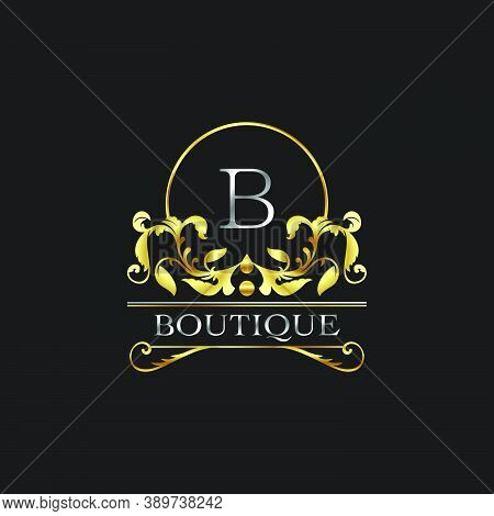 Stylish Graceful Golden Luxury V Logo. Elegance Vector Template Made Of Wide Silver Alphabet With Li