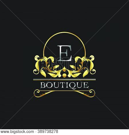Stylish Graceful Golden Luxury E Logo. Elegance Vector Template Made Of Wide Silver Alphabet With Li