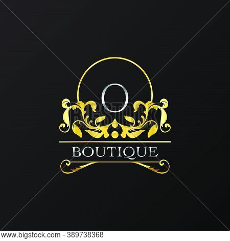 Stylish Graceful Golden Luxury O Logo. Elegance Vector Template Made Of Wide Silver Alphabet With Li