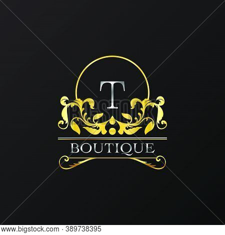 Stylish Graceful Golden Luxury T Logo. Elegance Vector Template Made Of Wide Silver Alphabet With Li