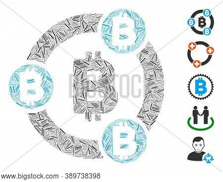 Line Mosaic Based On Bitcoin Collaboration Icon. Mosaic Vector Bitcoin Collaboration Is Composed Wit