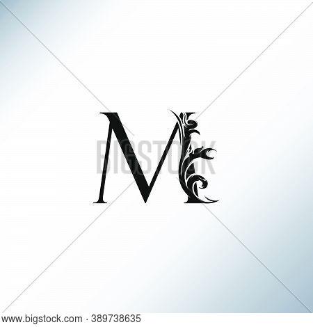 Art Deco  Luxury M Letter Logo, Floral Monogram And Beautiful Alphabet Font. Art Deco In Vintage Sty