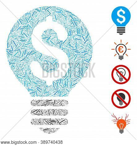 Dash Mosaic Based On Business Patent Bulb Icon. Mosaic Vector Business Patent Bulb Is Designed With