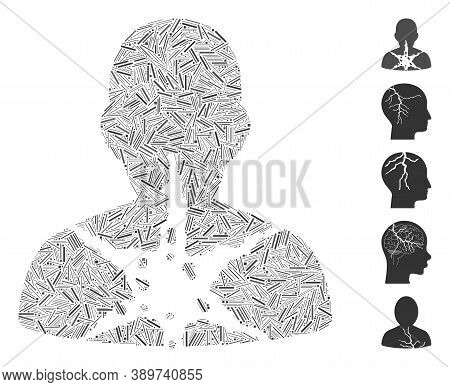 Line Mosaic Based On Cancer Damaged Patient Icon. Mosaic Vector Cancer Damaged Patient Is Created Wi