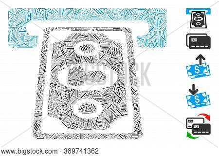 Line Mosaic Based On Cashpoint Terminal Icon. Mosaic Vector Cashpoint Terminal Is Composed With Rand