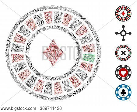 Dash Mosaic Based On Casino Roulette Icon. Mosaic Vector Casino Roulette Is Created With Scattered D