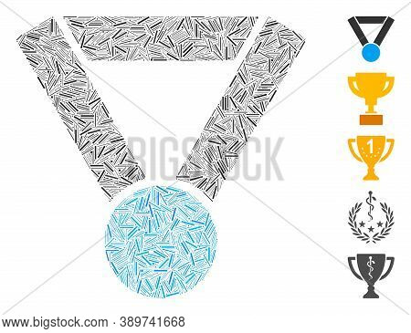 Dash Mosaic Based On Champion Award Icon. Mosaic Vector Champion Award Is Composed With Scattered Da