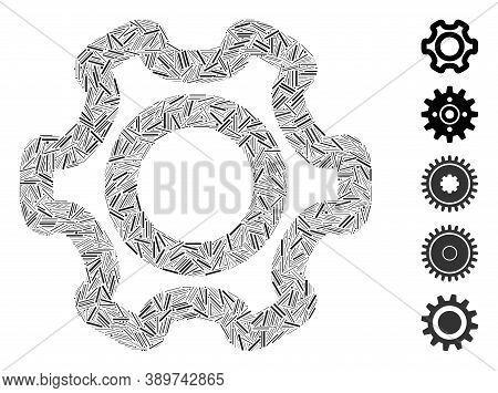Hatch Mosaic Based On Cog Icon. Mosaic Vector Cog Is Created With Random Hatch Spots. Bonus Icons Ar