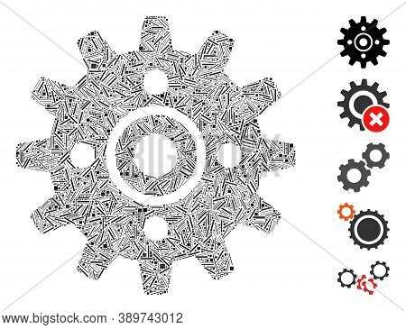 Hatch Mosaic Based On Cogwheel Icon. Mosaic Vector Cogwheel Is Composed With Scattered Hatch Items.
