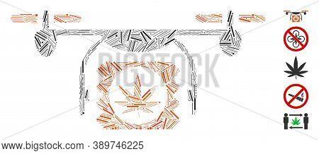 Hatch Mosaic Based On Drugs Drone Shipment Icon. Mosaic Vector Drugs Drone Shipment Is Formed With R