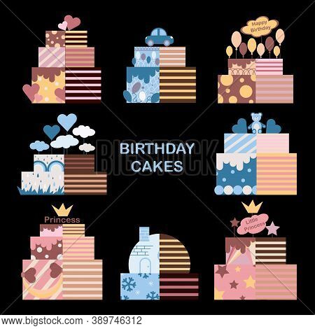 Decorated Sweet Cakes Set . Pink And Blue Cakes For Princess And Young Hero. Birthday Cakes For Cele