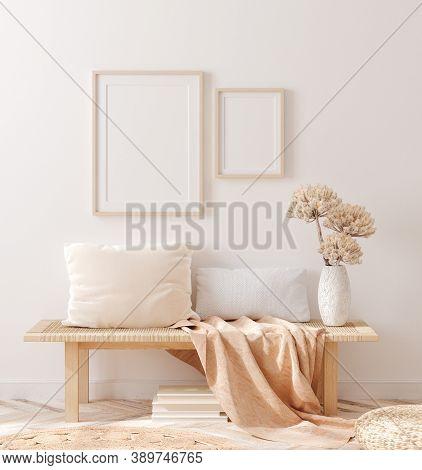 Scandinavian Style Living Room, Interior In Pastel Colors, Wall Mockup, 3d Illustration