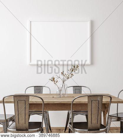 Mockup Frame In Farmhouse Dining Room Interior, 3d Illustration