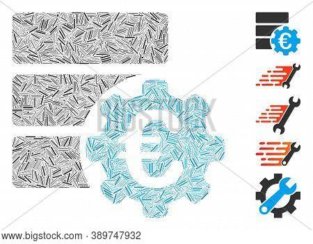 Line Mosaic Based On Euro Financial Database Options Icon. Mosaic Vector Euro Financial Database Opt