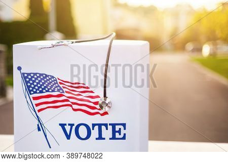 Stetoscope On Ballot Box For American Presidential Elections.