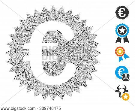 Hatch Collage Based On Euro Warranty Stamp Icon. Mosaic Vector Euro Warranty Stamp Is Designed With