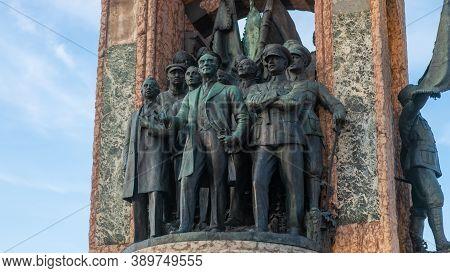 Istanbul, Turkey - November 2019: Ataturk Statue Monument In Taksim Square