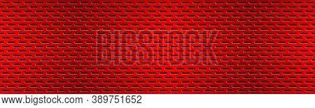 Structured Red Perforated Metal Texture Header. Aluminium Grating Banner. Abstract Metallic Backgrou