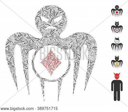 Line Mosaic Based On Gambling Spectre Monster Icon. Mosaic Vector Gambling Spectre Monster Is Create