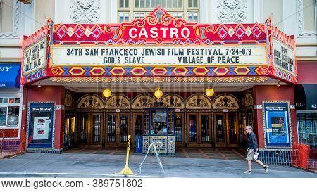 San Francisco, California, Usa - August 2019: Castro Theatre Building On Castro Street In San Franci