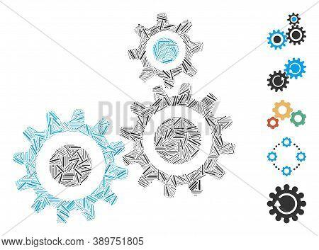 Hatch Mosaic Based On Gear Mechanism Icon. Mosaic Vector Gear Mechanism Is Created With Random Hatch