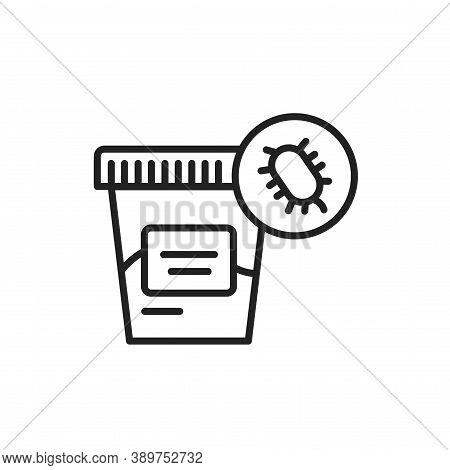 Fecal Analysis Black Line Icon. Laboratory Diagnostics.