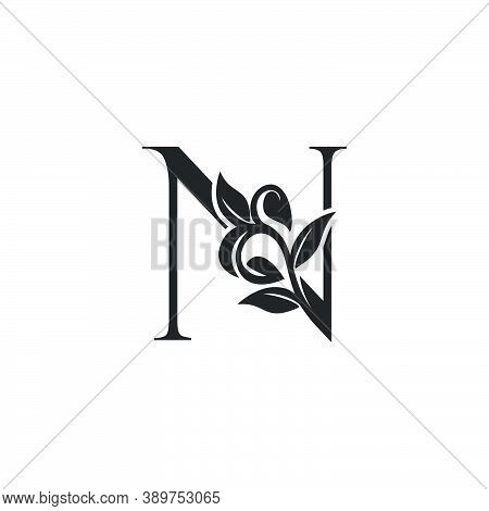 Monogram Nature Floral N Luxury Letter Logo Concept. Elegance Black And White Florist Alphabet Font