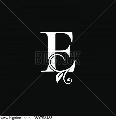 Luxury Letter E Floral Leaf Logo Icon, Simple Classy Monogram Vector Design Concept For Brand Identi