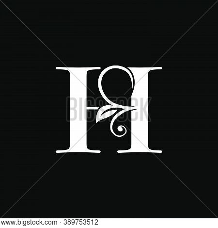 Luxury Letter H Floral Leaf Logo Icon, Simple Classy Monogram Vector Design Concept For Brand Identi