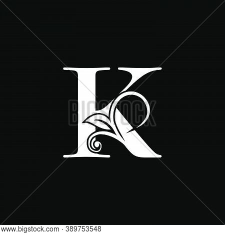 Luxury Letter K Floral Leaf Logo Icon, Simple Classy Monogram Vector Design Concept For Brand Identi