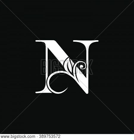 Luxury Letter N Floral Leaf Logo Icon, Simple Classy Monogram Vector Design Concept For Brand Identi