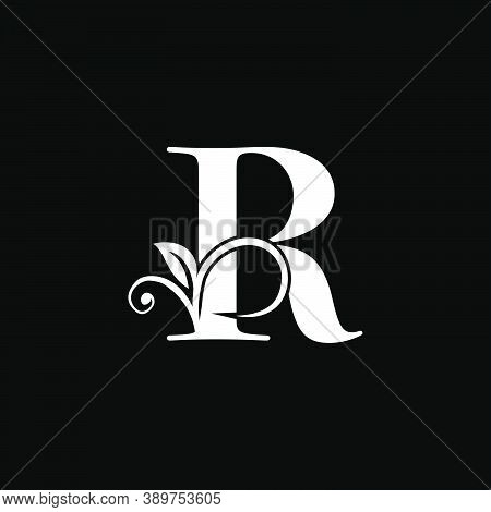 Luxury Letter Rfloral Leaf Logo Icon, Simple Classy Monogram Vector Design Concept For Brand Identit