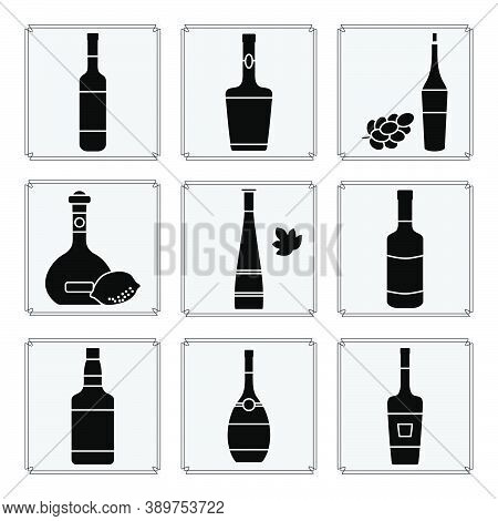 Vector Illustration Set Bottles Of Assorted Alcoholic Beverage. Liquor Store, Alcohol Shop, Bar Coll