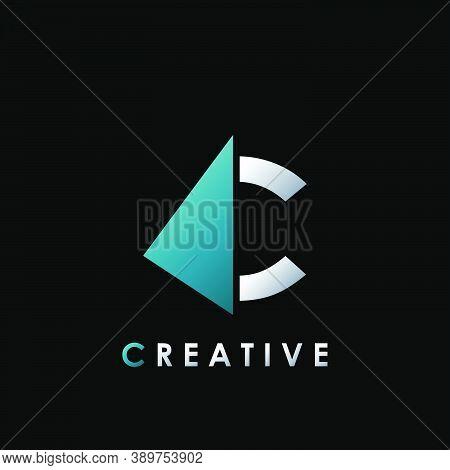 Techno Split Half Letter C Logo Vector Design With Geometrical Triangle Shape.