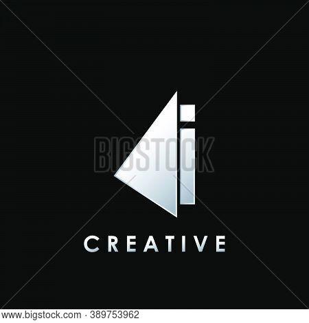 Techno Split Half Letter I Logo Vector Design With Geometrical Triangle Shape.