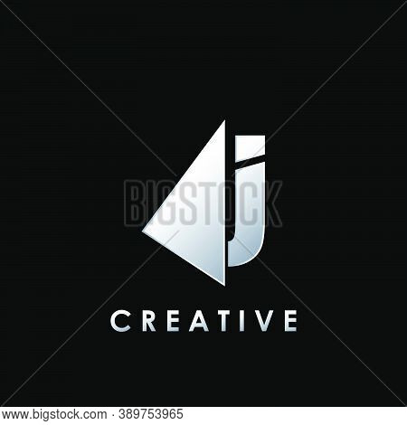 Techno Split Half Letter J Logo Vector Design With Geometrical Triangle Shape.