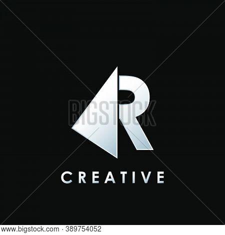 Techno Split Half Letter R Logo Vector Design With Geometrical Triangle Shape.