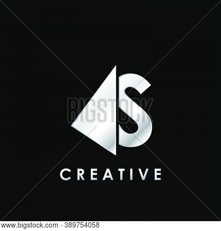 Techno Split Half Letter S Logo Vector Design With Geometrical Triangle Shape.