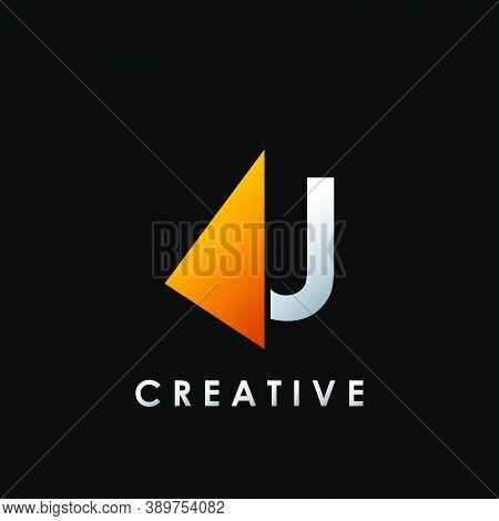 Techno Split Half Letter U Logo Vector Design With Geometrical Triangle Shape.