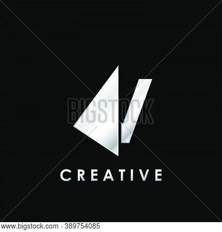 Techno Split Half Letter V Logo Vector Design With Geometrical Triangle Shape.
