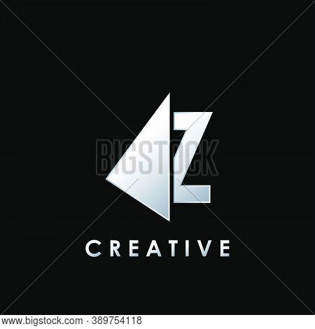Techno Split Half Letter Z Logo Vector Design With Geometrical Triangle Shape.